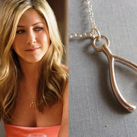 Silver Wishbone Necklace, Make a Wish Lucky Necklace, Jennifer Aniston Inspired, Celebrity Inspired