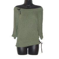 Ladies Upcycled Short Spring Green Sweater with Black Ribbon Accents Womens Clothing Large
