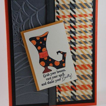 Grab Your Broom and Shake Your Booty Halloween Handmade Card