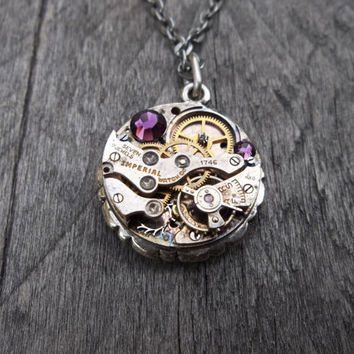 Clockpunk Steampunk Reversible Necklace, Stainless Steel Fleur de lis/Watch Movement with Swarovski Crystals Pendant on Cable Link Chain