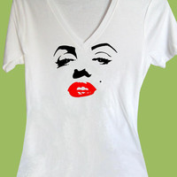 Marilyn Monroe Red Lips Sexy Deep V-Neck Unisex or Junior Ladies by ChiTownBoutique.etsy