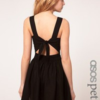 ASOS PETITE Exclusive Mini Dress With Tie Back at asos.com