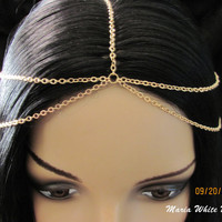 Gold  Head Chain 5 Strand Chain Headpiece chain headdress Circlet Gypsy