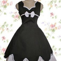 Black Cotton Gothic Lolita Dress, ocrun.com