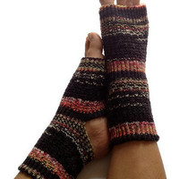 "Toeless Yoga Socks Hand Knit in ""Blackjack"" Pedicure Pilates Dance"