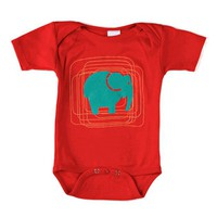 Fun Modern Red Elephant Unisex Baby Bodysuit - SOLD OUT- Polkadot Patch Boutique