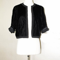 1940s Black Velvet Jacket - Cropped