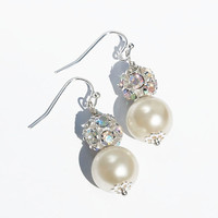 Ivory Pearl Wedding Earrings, Bridesmaid Earrings, Wedding Jewelry