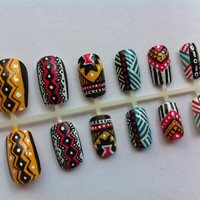 Tribal/Aztec Print False Nail Set