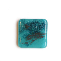 Fused Glass Magnet -  Bird and Tree Scene on Turquoise Blue Glass