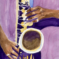 Jazz Painting Sax Player Hands Watercolor Print