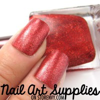 Red Velvet - Bright Red Glitter Nail Polish Lacquer 16ml from nailartsupplies