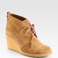 Tory Burch - Vicki Suede Lace-Up Wedge Ankle Boots