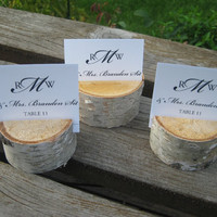 20 Birch Bark Place Card Holders for Weddings by FloralAccents