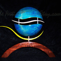 Wood Art Sculpture  -  Hand Dyed Blue Yellow Green Wood Sculpture - Art by TheArtistTerand