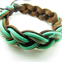 Soft Leather and Cotton Ropes Woven Women Jewelry Bangle Cuff Bracelet  796A