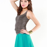 A'GACI Double Scoop Lurex Tank - TOPS