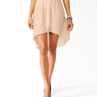 Accordion Pleated High-Low Skirt