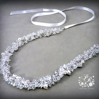 Clear Crystal Beads & Swarovski Pearl Head piece Wedding Jewelry Bridal hair band