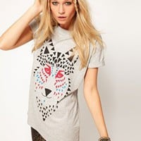 ASOS T-Shirt with Mosaic Wolf at asos.com