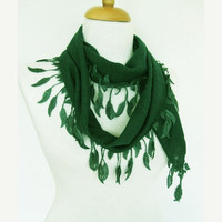 ON SALE Emerald Cotton Fringed Scarf, Lace Edge, Summer Fashion, Headband, Cowl