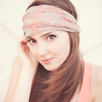 Peach and Ecru Lace Headband