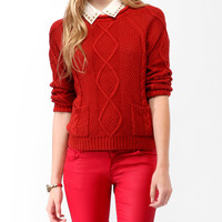 Cable Knit Raglan Sweater