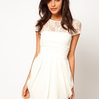 ASOS Tulip Dress With Lace Top at asos.com