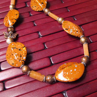 Long Orange Fall Necklace