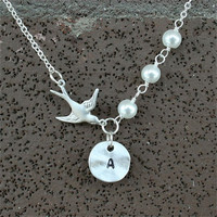 Bird Necklace, Custom Initial Necklace, Bird with Pearl, Personalized Necklace, Sterling Silver chain available