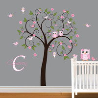 Children Wall Decal Girls Nursery Vinyl Wall Stickers Flowers Owls Curl Tree Butterflies