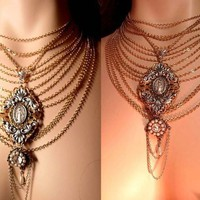 Renaissance huge swag miraculous gothic necklace pearls and rhinestones