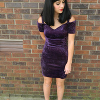 Vintage 90s purple crushed velvet sweetheart body con dress