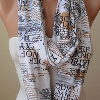 White - Written Infinity Scarf - Circular - Circle -  Loop Scarf - White - Written Scarf - Cotton Jersey