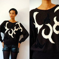 Vtg Black & White Printed Suede Wool Knitted Sweater
