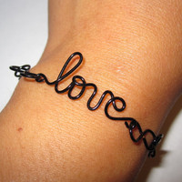 Love Bracelet Infinity Black Copper Wire Wrapped Delicate Unique Gift