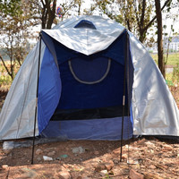 Dual-layer Three-person Outdoor Camping Folding Tent Concave-convex Silver - Default
