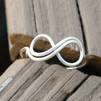Adjustable Wire Wrapped Ring Silver Infinity Ring