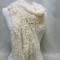 NEW Simple and Elegant IVORY  stretch lace trimmed soft scarf scarves women  stocking stuffers gifts under 20 by Catherine Cole Studio