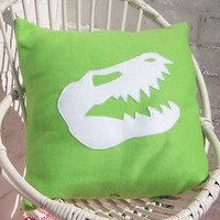 Boy's Cushion Dinosaur Skull on Green Fleece Cushion/Pillow Cover 35cm/14inch