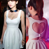 Fabulous Sweet Heart Shape Backless Summer White Dress. Party Dress. Red Choice
