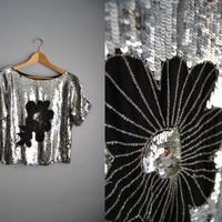 The Silver Sequin: Vintage 80s Silver Metallic Party Top Shirt Slouchy