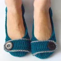 Crochet Womens Slippers, Flats, House Shoes - Teal and Steel - Made to Order