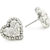 Betsey Johnson Crystal Heart Stud Earrings - designer shoes, handbags, jewelry, watches, and fashion accessories | endless.com