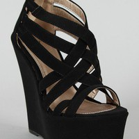 Qupid Kunis-10 Strappy Open Toe Platform Wedge