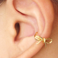 Ear Cuff Gold Bow Dainty Ear Wrap Earcuff