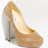Cheap Sale Jimmy Choo Esam Crystal Heel Suede Platform Pumps Nude