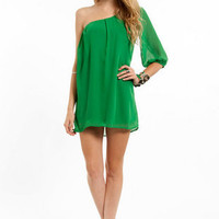 One Shoulder Chiffon Mini Dress