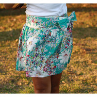 Summer Turquoise Blue Mini Skirt with Sash Belt