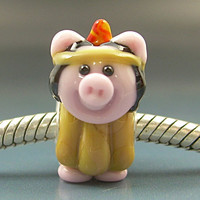 Porkahontas Pocahontas Indian Pig Handmade Lampwork Glass Thanksgiving European Charm Big Hole Bead sra Gelly